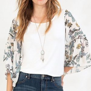 NWT Maurices Chiffon Floral Sleeve Knit Top L